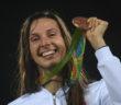 Oktawia Nowacka podczas ceremonii dekoracji medalistek w piêcioboju nowoczesnym, 19 bm. w Rio de Janeiro.   Bart³omiej Zborowski PAP